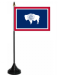 Wyoming Desk / Table Flag with plastic stand and base.